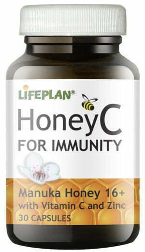 Lifeplan Honey C Manuka Honey capsules 16+ 250mg with Vitamin C & Zinc - 30 caps