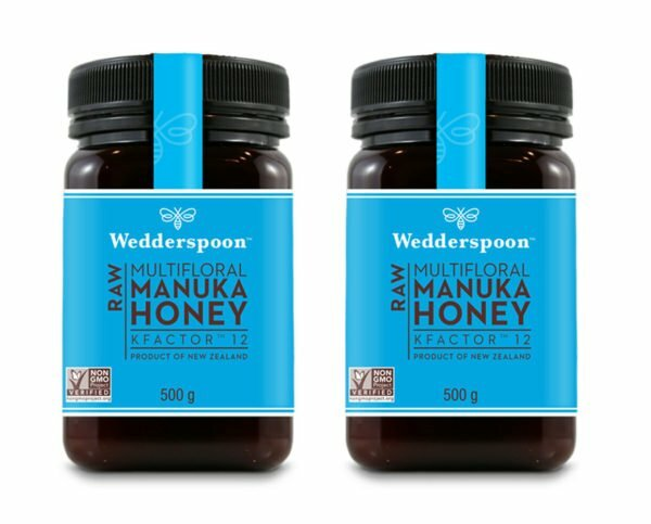 1kg Pack - Wedderspoon RAW Manuka Honey KFactor 12+ 500g (2x500g)