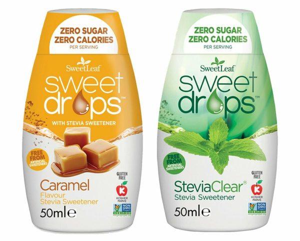 Sweetleaf Stevia Sweet Drops 48ml - MIXED TWIN PACK - Clear & Caramel