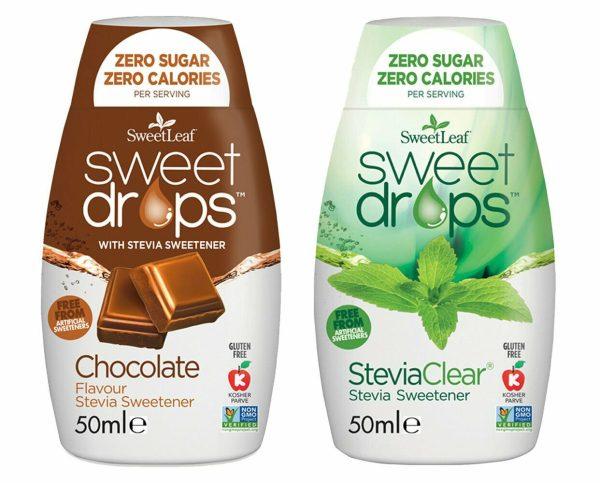 Sweetleaf Stevia Sweet Drops 48ml - MIXED TWIN PACK - Clear & Chocolate