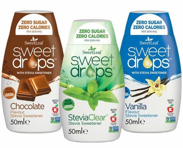 Sweetleaf Stevia Sweet Drops 48ml– MIXED TRIPLE PACK - Clear & Vanilla & Chocolate