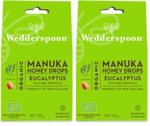 Wedderspoon ORGANIC Natural Manuka Honey Drops Eucalyptus (20 Drops per box) TWIN PACK