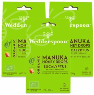 Wedderspoon ORGANIC Natural Manuka Honey Drops Eucalyptus (20 Drops per box) TRIPLE PACK