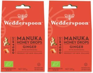 Wedderspoon ORGANIC Natural Manuka Honey Drops Ginger (20 Drops per box) TWIN PACK