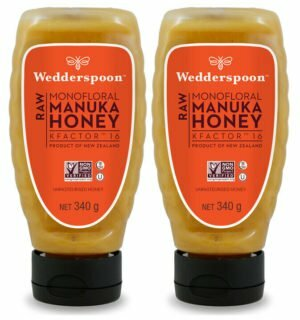 Twin pack of Wedderspoon RAW KF16 Manuka Honey squeezy