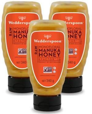 Triple pack of Wedderspoon RAW KF16 squeezy Manuka Honey 340g
