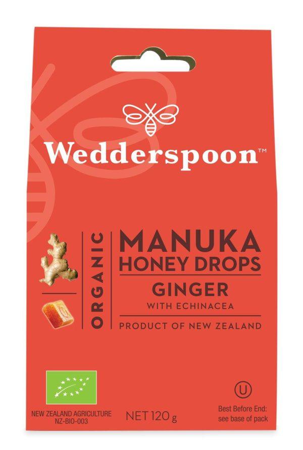 Wedderspoon ORGANIC Natural Manuka Honey Drops Ginger
