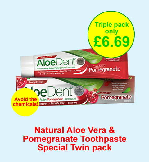 Natural Aloe Vera Pomegranate toothpaste - natural toothpaste without the chemicals - triple pack now only £6.69 for the 3 tubes